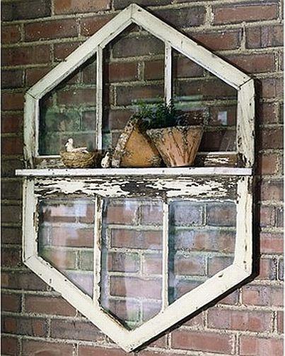 Repurposed window shelf.