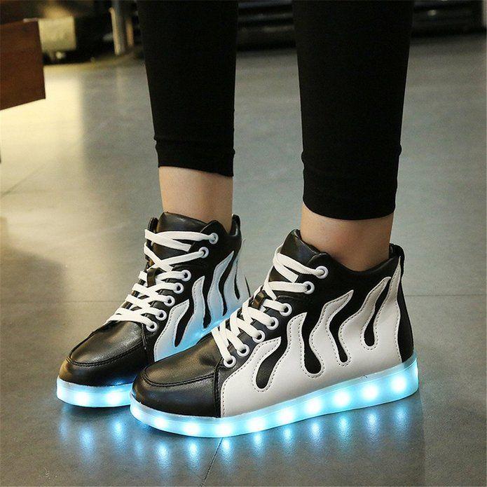 9fcc215e2b202 Amazon.com: AnnabelZ LED Shoes High Top Men Women Light Up Shoes USB ...