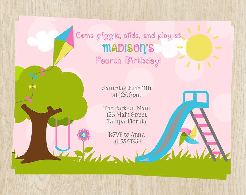 Birthday party invitations girls pink playground swing slide birthday party invitations girls pink playground swing slide kite flowers tree set of 10 printed cards plygr playground birthday filmwisefo