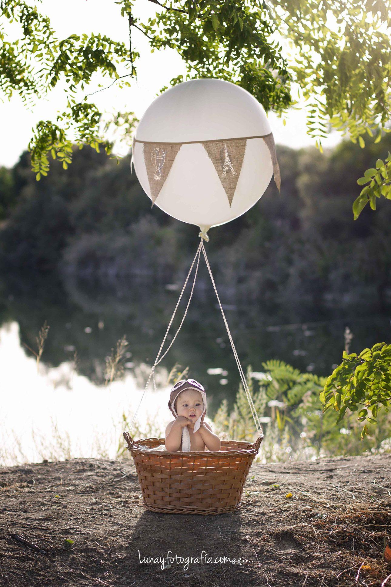 Sesión Infantil Vintage con globo aerostático en exteriores ...
