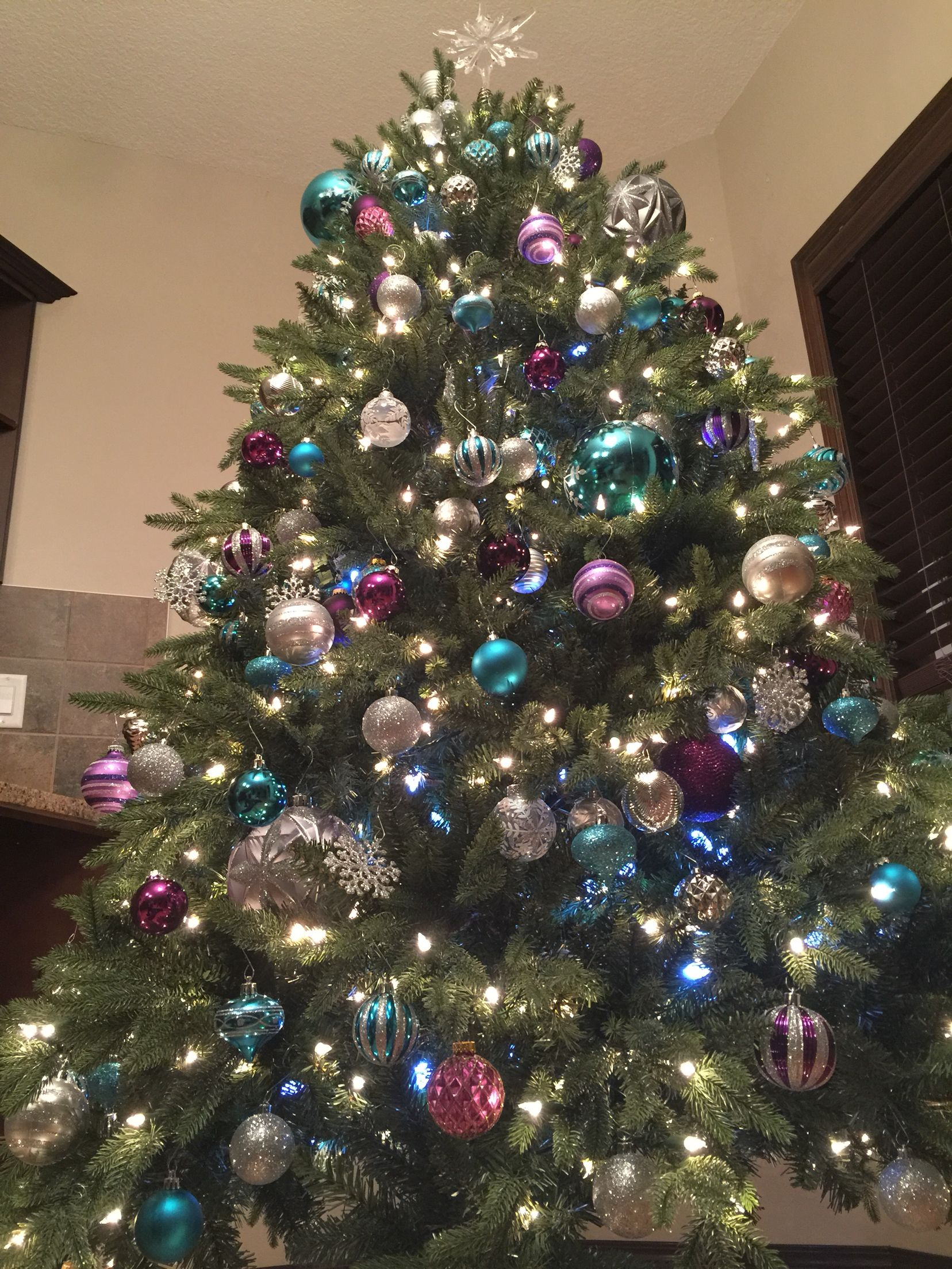 Teal purple silver Christmas tree