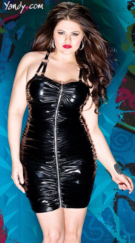 Plus Size Gathered Wet Look Dress Plus Size Vinyl Dress Plus Size