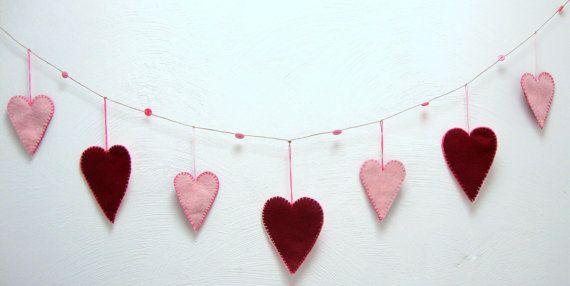 valentine banner  heart garland  hand stitched  by SeventhStitch, $28.00