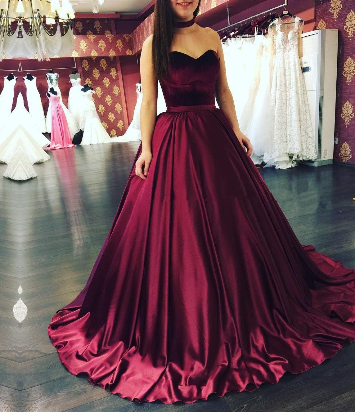 burgundy ball gowns,burgundy wedding dresses,sweetheart ...