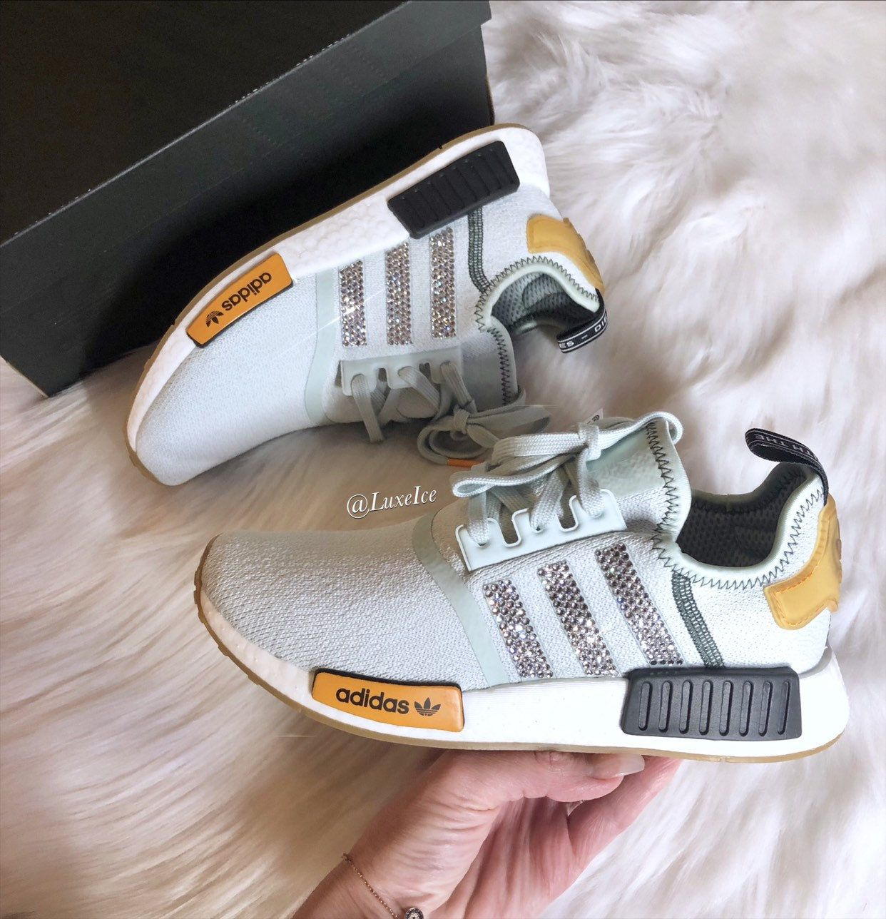 finest selection 4fce8 2b0ba Swarovski Adidas NMD Runner Casual Shoes Vapour Green Bright Gold  customized with Swarovski Crystals.
