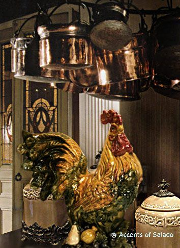 Perfect Often Seen In A French Country Kitchen ~ Roosters, Colorful Ceramics, And  Copper Pots. Also Tuscan Style. Love The Rooster And Copper Pots!