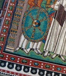 Detail from the the mosaic of Emperor Justinian and his retinue at the Basilica of San Vitale, 6th c. This is my favorite part of the composition.