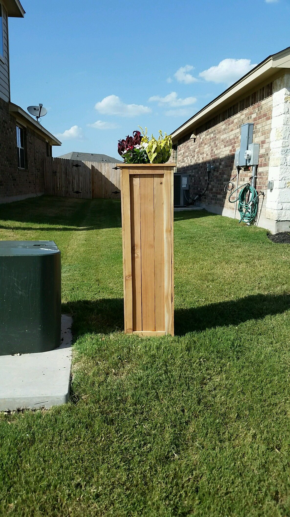 I Covered My Ugly Utility Pole With A Tall Planter Style Box Made Out Of Noth
