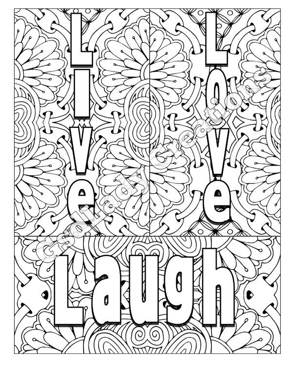 Word Art Adult Coloring Page Art Letter Design Live Love Laugh