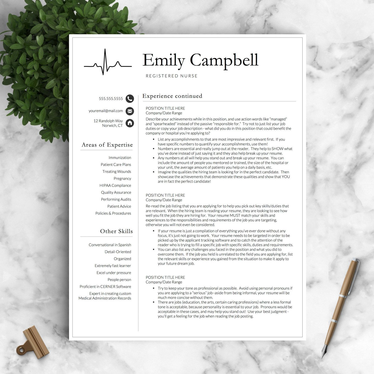 Nurse Resume Template For Word  Pages Featuring An Ekg Graphic
