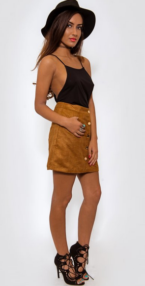 Brown suede high waisted button down mini skirt | USTrendy ...