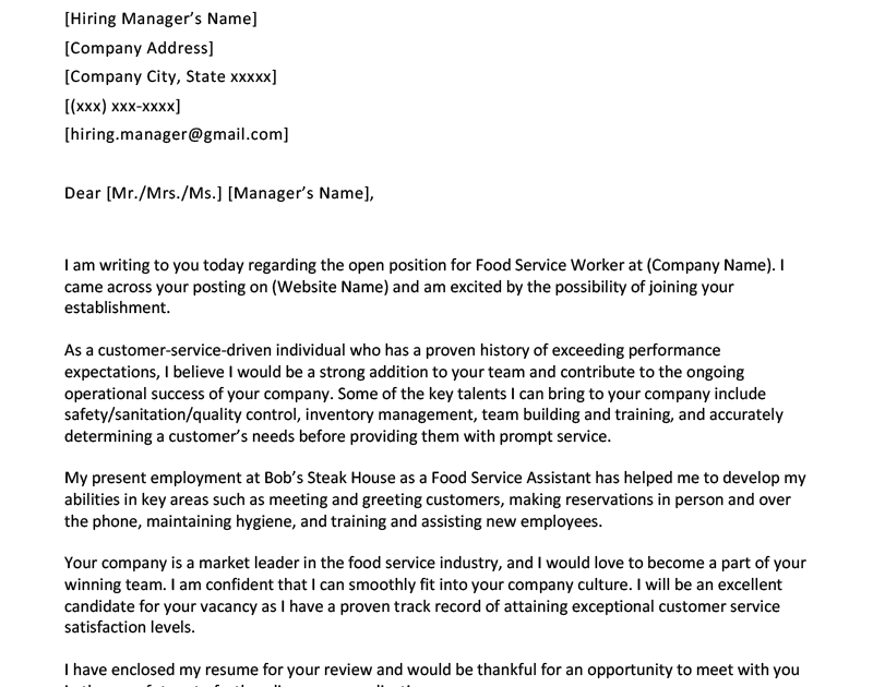 Entry Level Waiterwaitress Cover Letter Sample Tips Resume Genius Cover Letter Sample Job Cover Letter Application Letter For Teacher