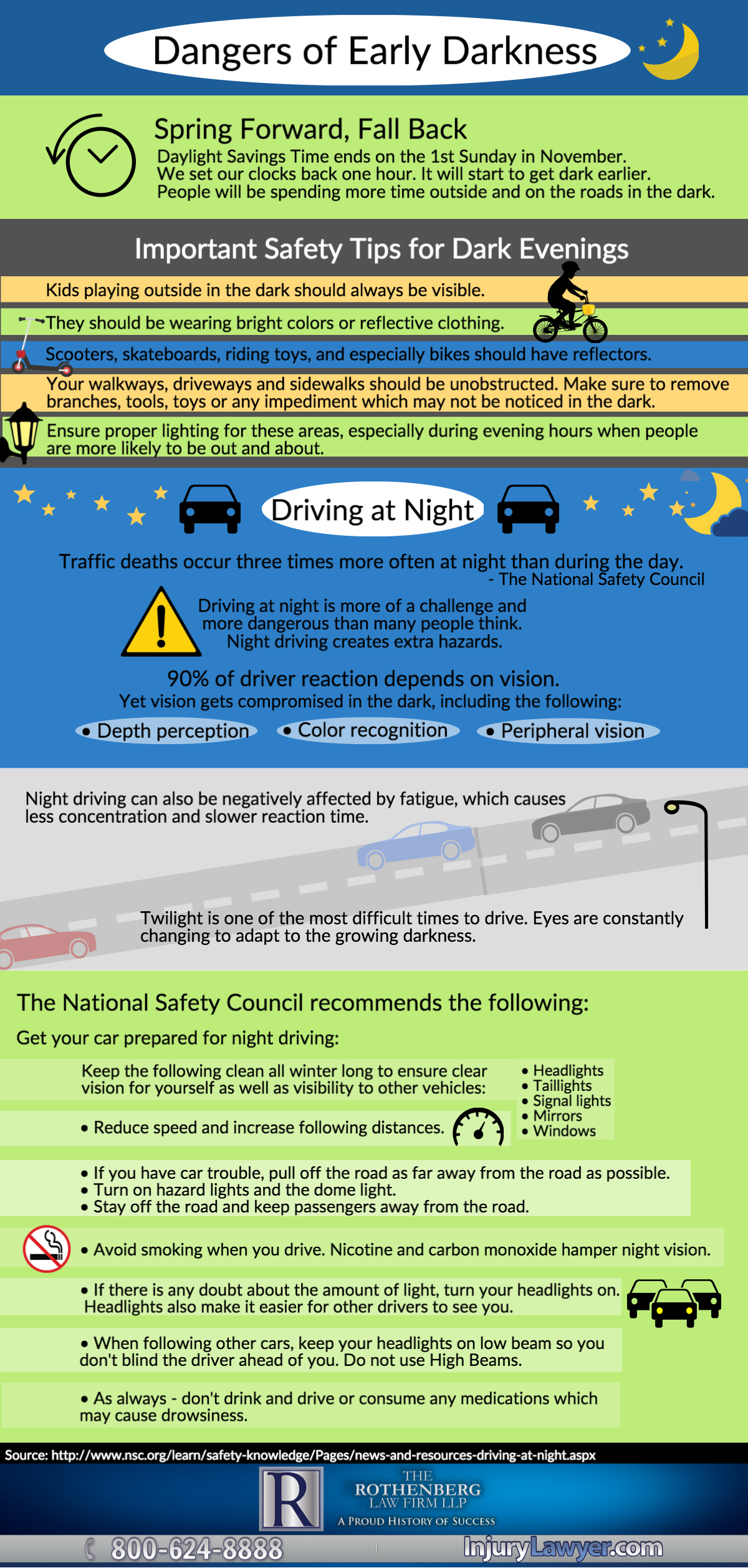 Tips to keep you safe when it gets dark early.
