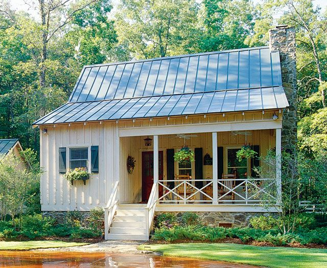 downstairs in this cottage second space upstairs click through southern living house planscountry - Small Cottage House Plans