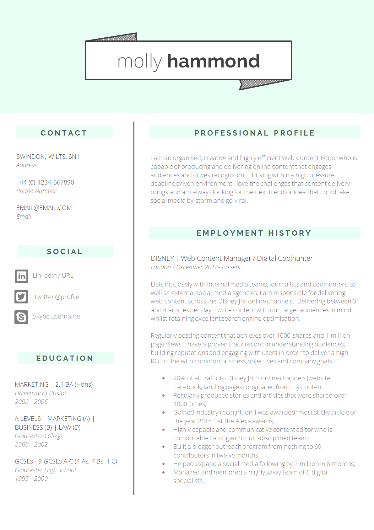 Mint Green Resume Template Creative 2 Page Cv Template Etsy Best Resume Template Cv Template Professional Cv Template