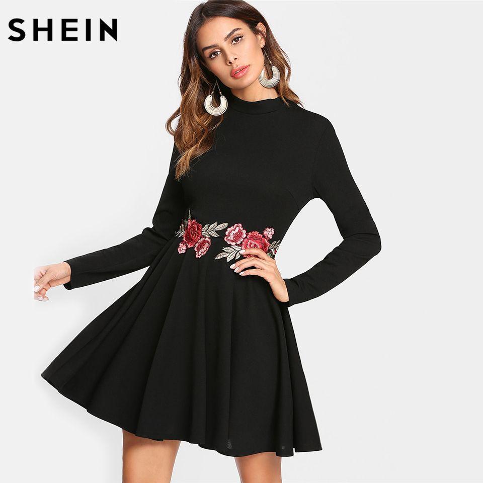 Black Embroidered Rose Applique Skater Dress Long Sleeve Stand