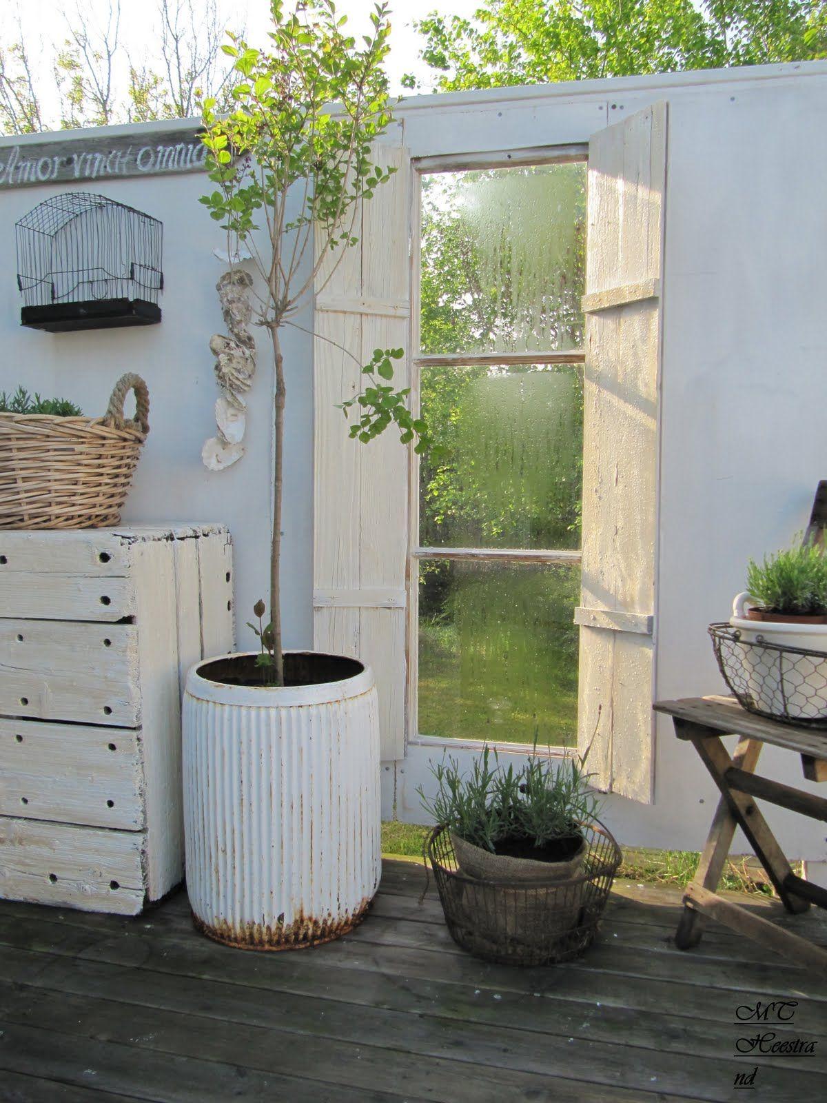 Window, Inside Gazebo. Outside Patio Garden Whitewashed Cottage ...