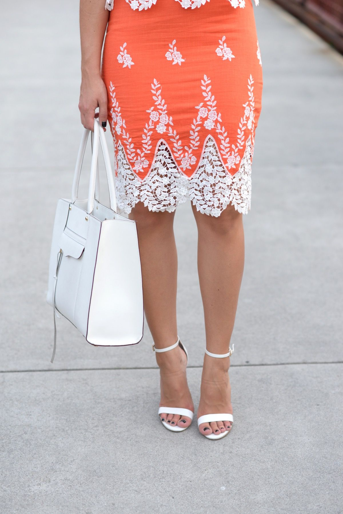 How to wear orange this summer lace crop tops skirt set and