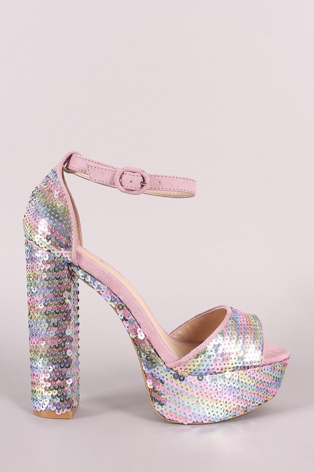 eee908f7fb Qupid Hologram Sequins Ankle Strap Chunky Platform Heel | Products ...