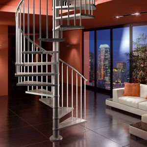 Best Spiral Staircase Metal Frame Wooden Steps Without 640 x 480