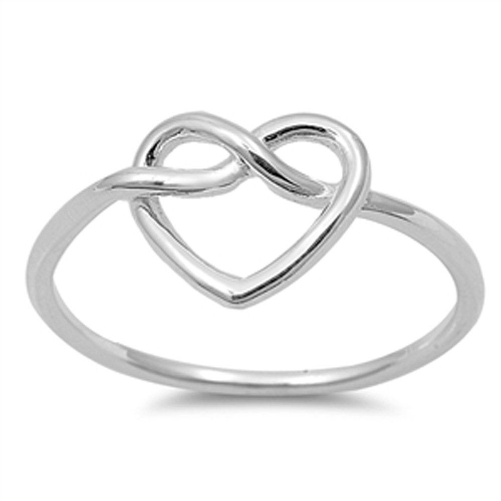 .925 Sterling Silver Heart Knott Fashion Band Ring For Women - Ring Size: 3