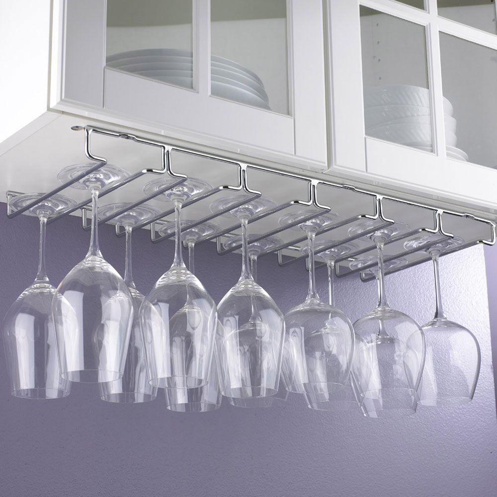 Hanging Metal Stemware Rack, Silver Metallic | Shelving systems ...
