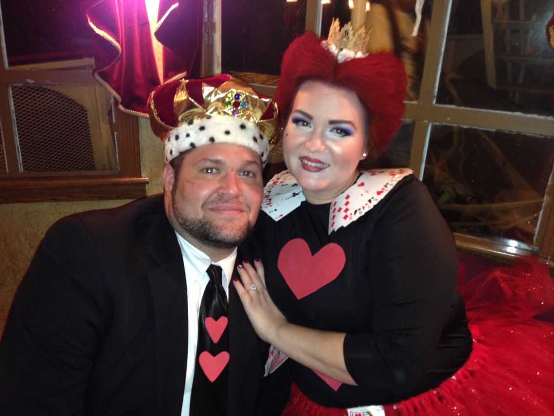 DIY King & Queen of Hearts red tutu mens black suit  Use a deck of cards & red foam paper. Winning couples costume