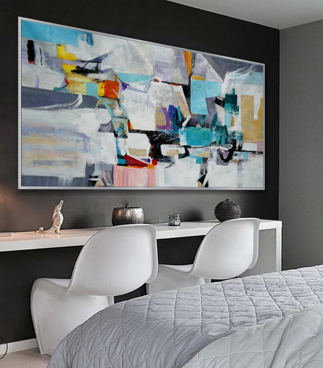 Modern Contemporary Artwork Large Colorful Horizontal Panoramic Abstract Framed Wall Art Brush Strokes Acrylic Painting On Canvas 36 X 72 Wall Art Pictures Fine Art Painting Painting