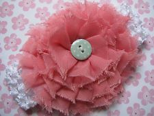 New Adorable White & Pink Flower Shabby Style Girl's Headband
