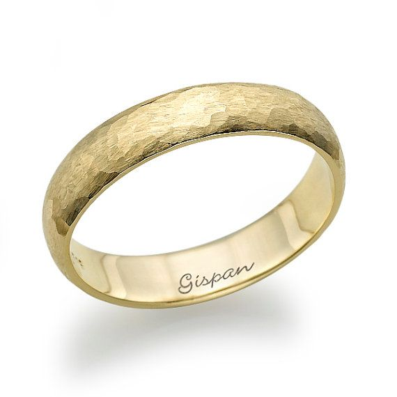 14K Wedding Ring Yellow/White/Rose Gold,14k Ring For Men,Unisex Ring,Ring With Texture,Beaten Ring