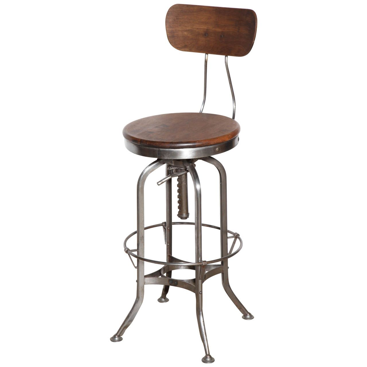 Tall Vintage Toledo Stool With Back Stools With Backs Stool Wooden Dining Room Chairs