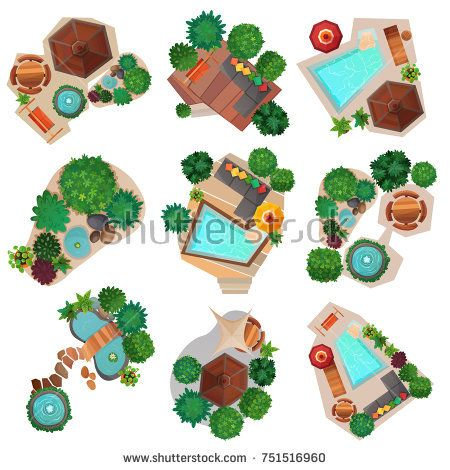 stock vector landscape compositions top view set with pond or pool trees and shrubs - Garden Furniture Top View