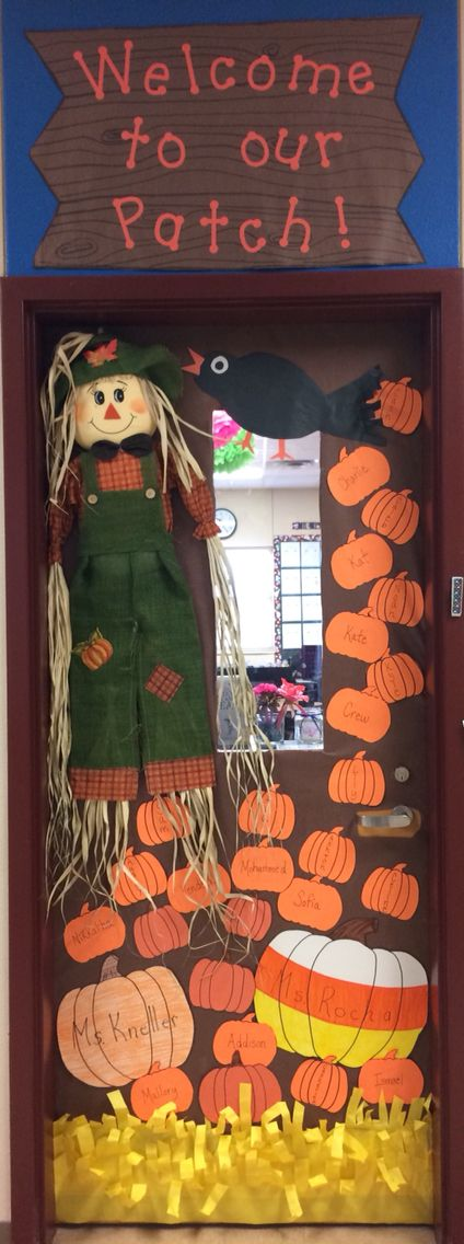 Fall door decoration: Welcome to our patch! #falldoordecorationsclassroom