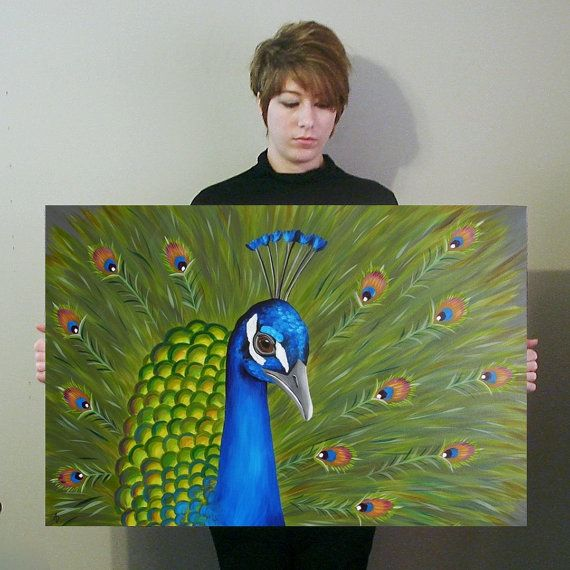 Peacock Painting Bird Art Home Decor Wall Hanging By