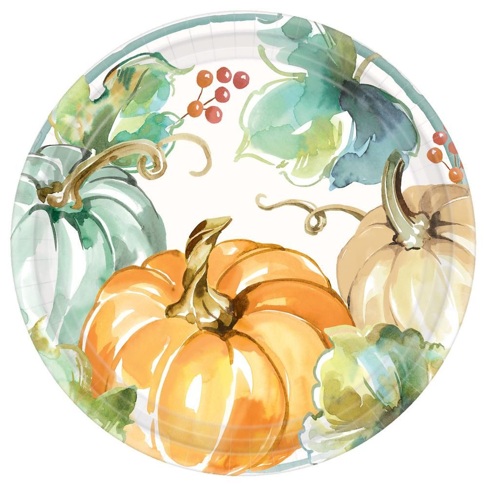 Amscan 10 5 In Multi Color Fall Muted Autumn Round Paper Plates