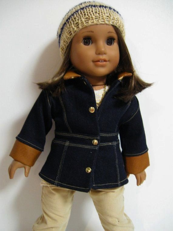 is the perfect outfit for a Saturday Stroll in the fall leaves for your American Girl What you get The CoatDenim Le Maris Coat made with the Liberty Jane Pattern It has l...