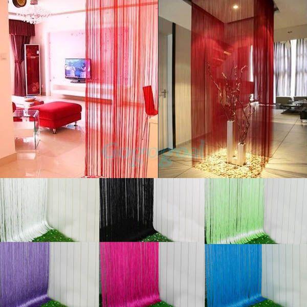 Using string rope wool & String Door Curtain Fly Screen Divider Room Window Decor DIY Blind ...