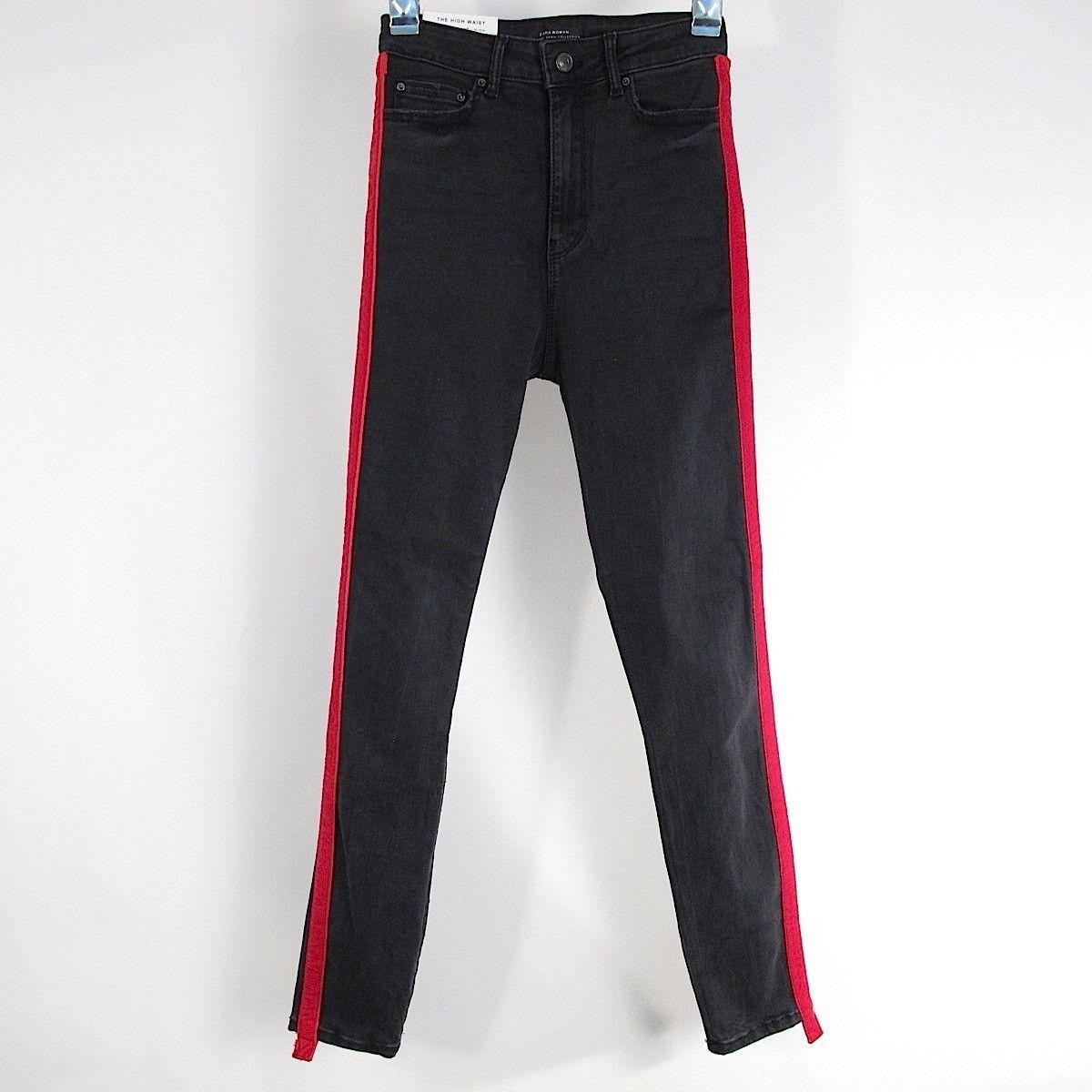 5d1ac0de63d8 NEW Zara Skinny Jeans Womens Size 2 Black High Waist Red Side Stripe  Stretch