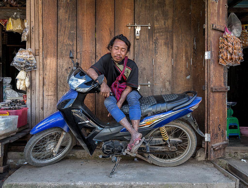 Myanmar - Sleeping Motorcyclist Near Inle Lake by JimP (in Sarnia)