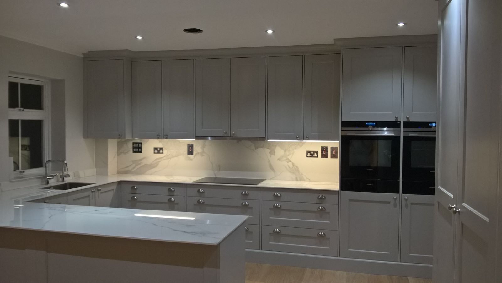 Little Greene Paint Company French Grey Spray Painted Kitchen Siemens Appliances Neolith Calacatta Porce Little Greene Paint Company Bespoke Kitchens Kitchen