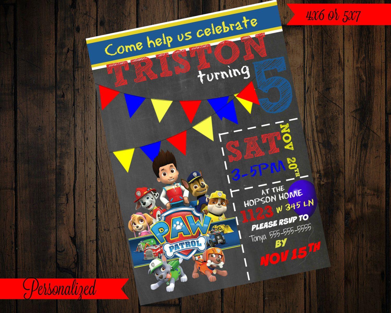 Paw patrol birthday invitations  https://www.etsy.com/listing/479350224/paw-patrol-invitation-printable-paw