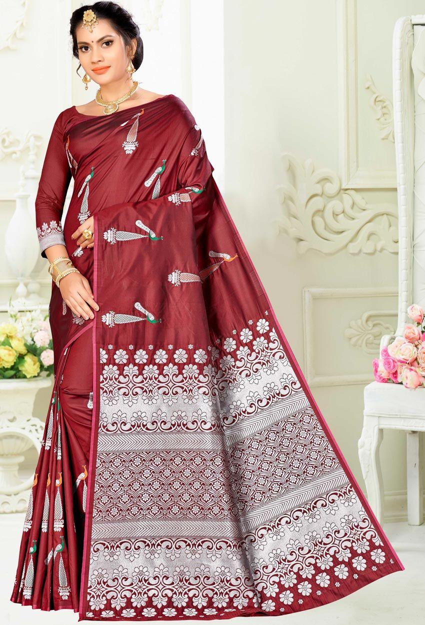 Maroon Banarasi Art Silk Designer Traditional Saree Traditional Sarees Saree Trends Latest Saree Trends