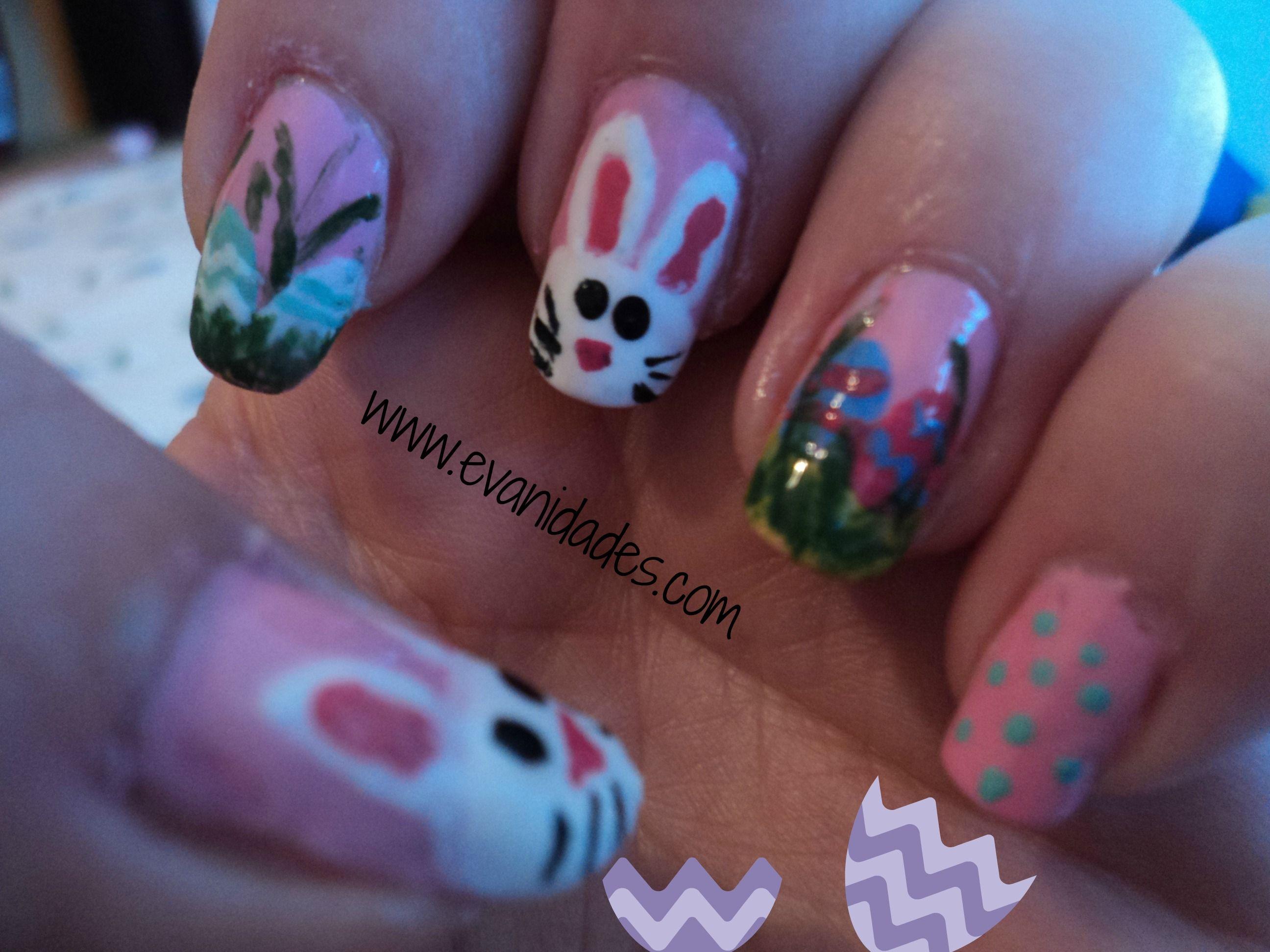 huevos de pascua en las uñas | Easter Bunny Nail Art | Pinterest ...