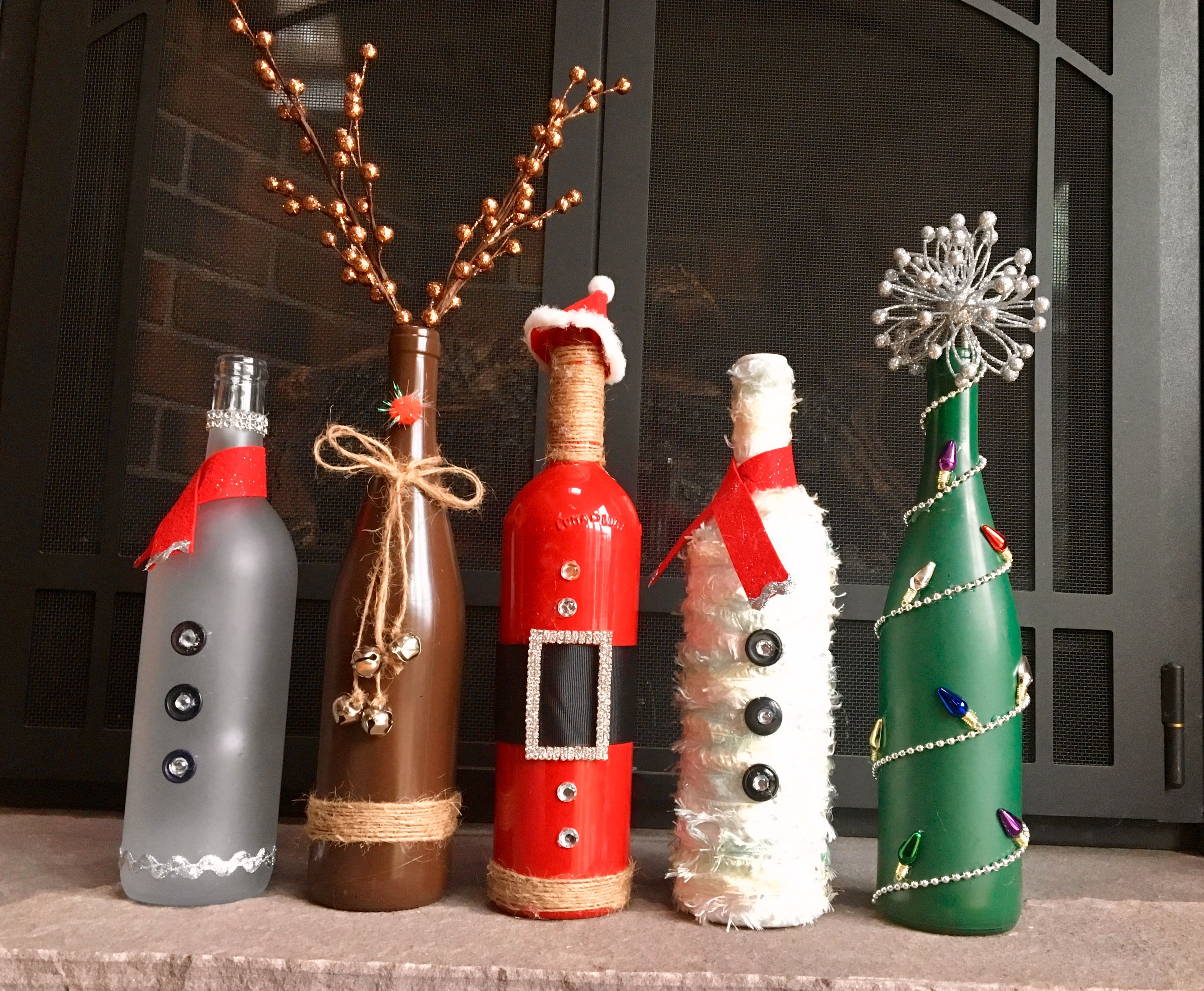 Christmas Wine Bottle Decor Bottles Decoration Wine Bottle Decor Christmas Wine Bottles
