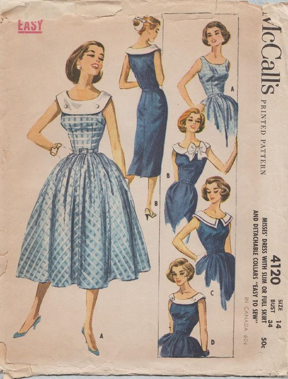 McCalls 4120 / Vintage 50s Sewing Pattern / Dress / Size 14 Bust 34 ...