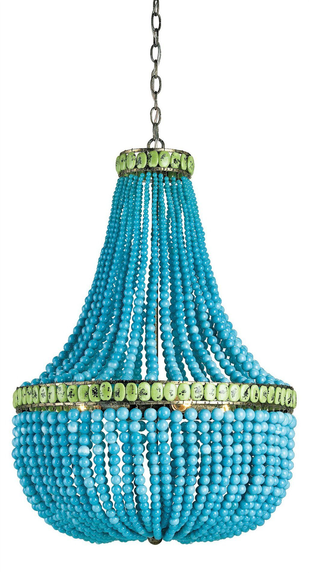 turquoise chandelier lighting. Turquoise Chandelier - Via South Shore Decorating.....I Could Make This Lighting