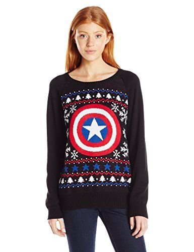 Marvel Womens Captain America Fairisle Ugly Christmas Sweater Ca