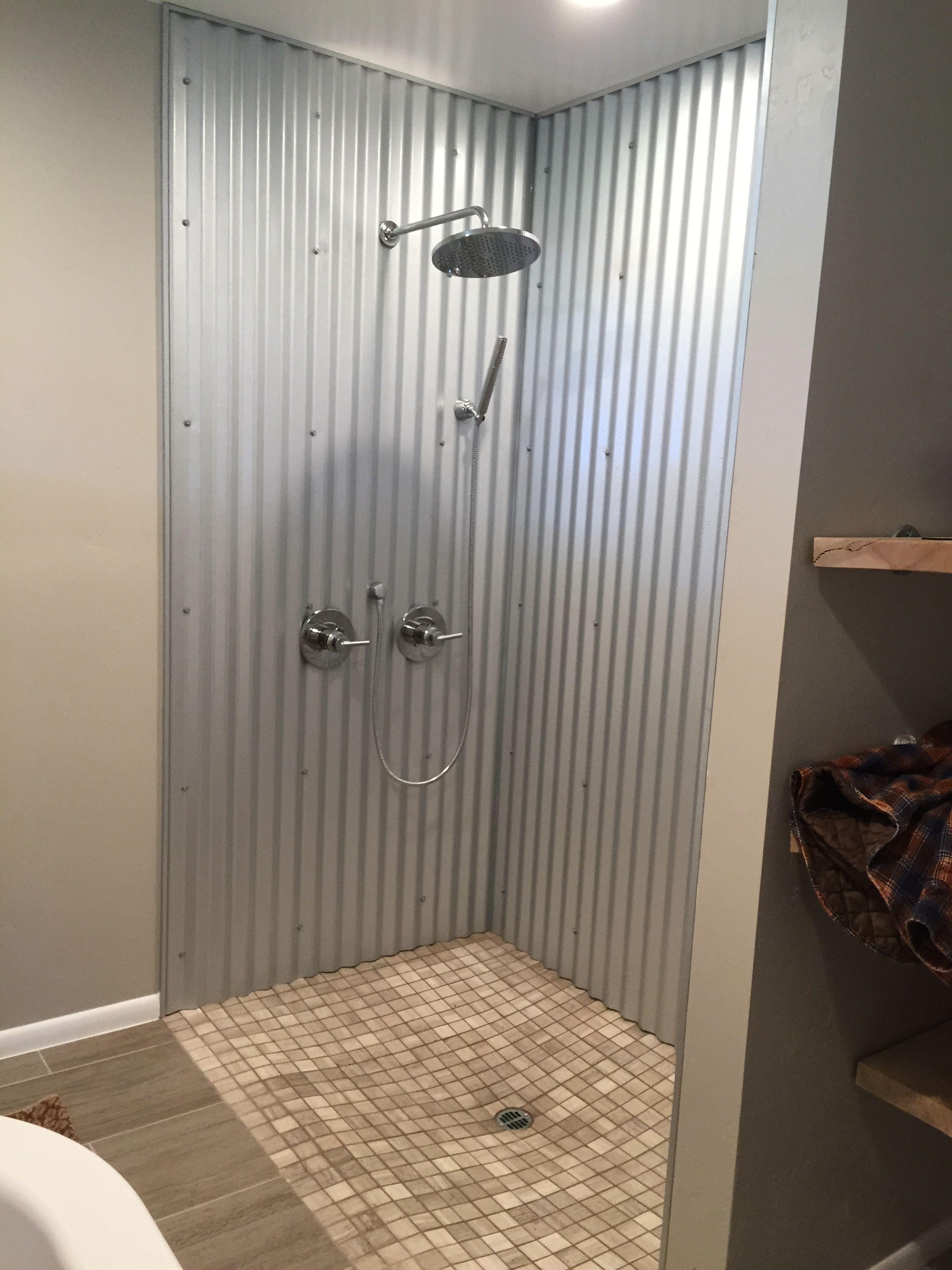 Shower Tin Shower Walls Shower Stall Rustic Bathrooms