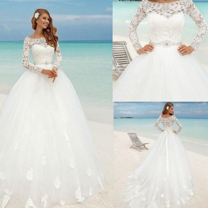 Ball Gown Long Sleeve Train White Ivory Beach Bridal Lace Wedding ...