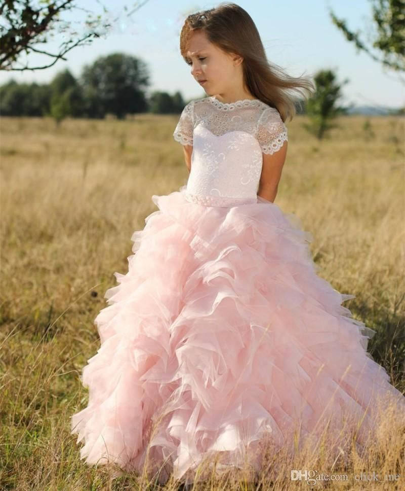 Pink Short Sleeve Flower Girls Dresses For Weddings Tiered Long Cute ...